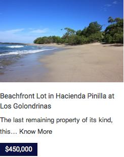 Beachfront lot at Hacienda Pinilla