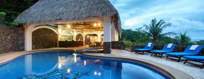 26 Pura Vida Villa Pool and Rancho at Dusk